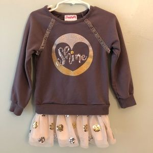 """Flapdoodles Grey Bling & Tulle """"Shine"""" L/S Shirt"""